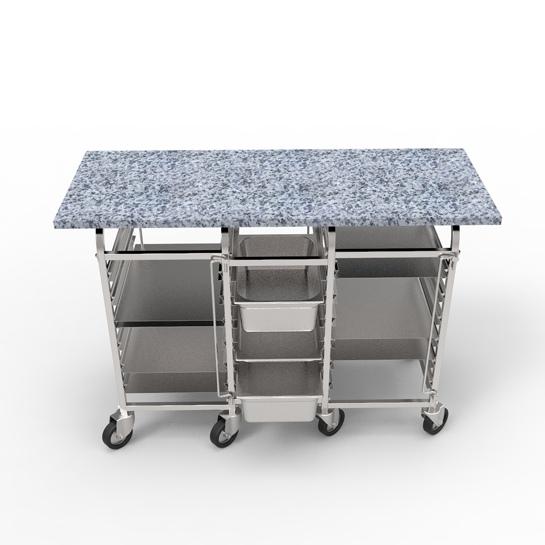 Granite table with sliding rails for food storage containers and trays by KADZAMA